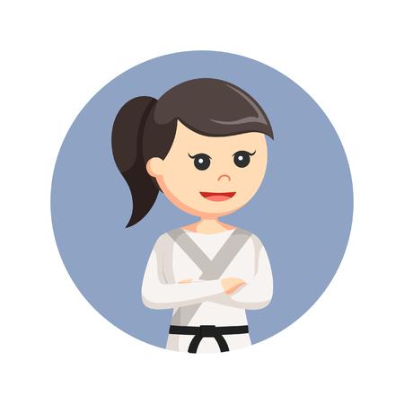 karate woman in circle background