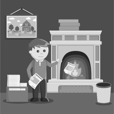 unused: black and white man burn his unused document into fireplace black and white style