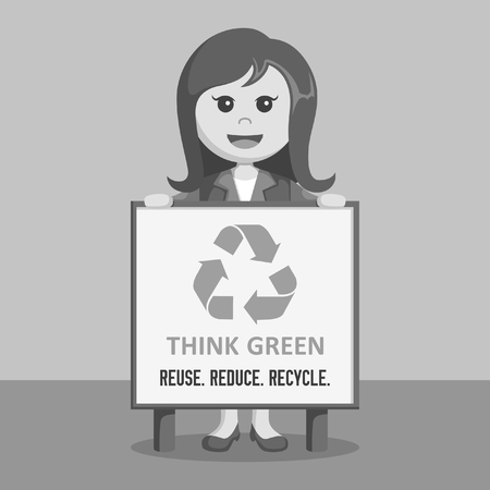 refuse: businesswoman with recycle board black and white color style
