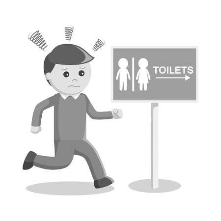 hysteria: black and white man running to the toilet black and white style