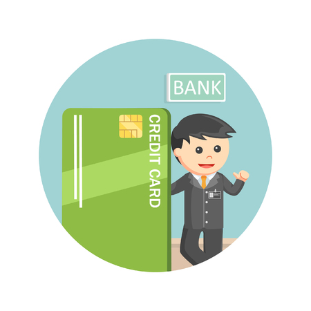 withdrawal: Bank teller standing beside giant credit card in circle background Illustration