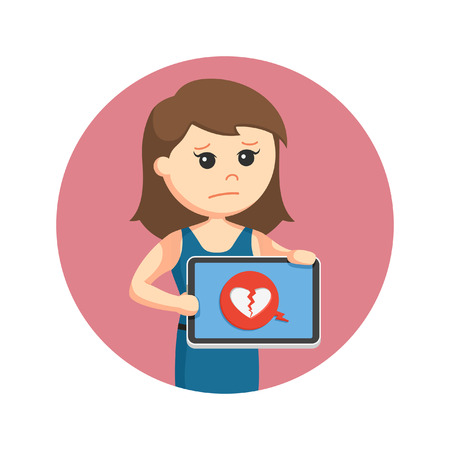 grieving: girl showing broken heart icon from tablet in circle background