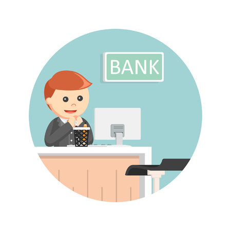 male bank teller in circle background