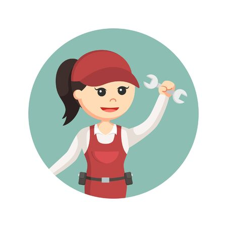 maintenance work: female plumber holding wrench in circle background