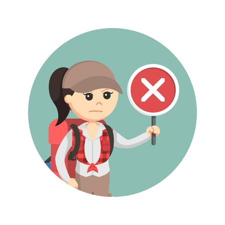 female hiker with crosswise in circle background Illustration