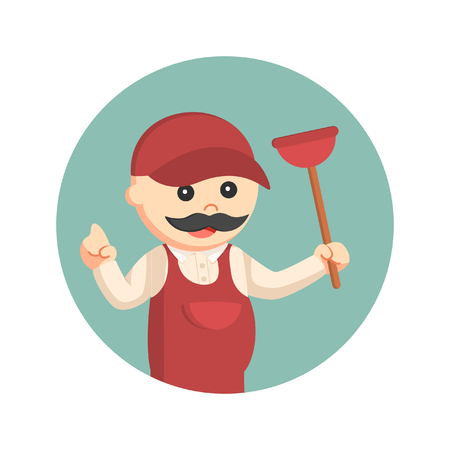 fat plumber holding toilet plunger in circle background