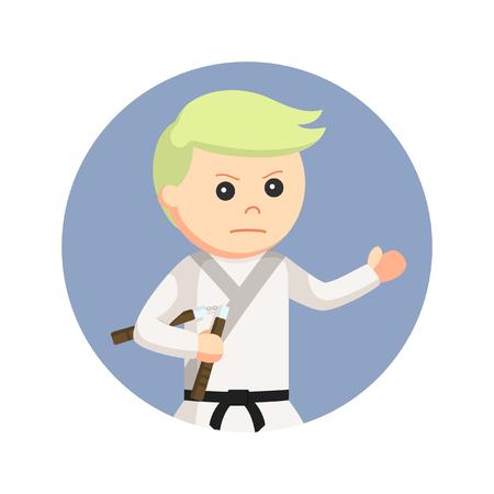 Karate kid holding nunchaku in circle background Illustration