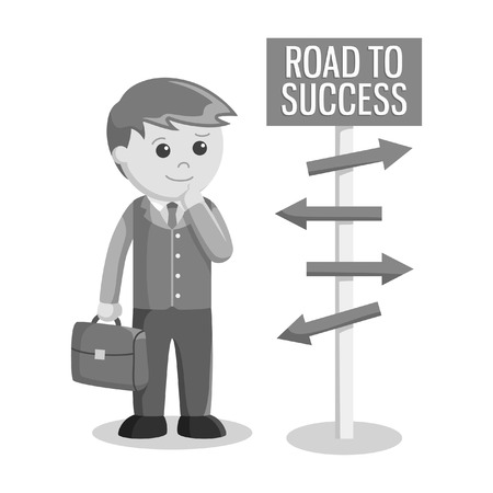 Businessman confuse to choose road to success black and white style Illustration