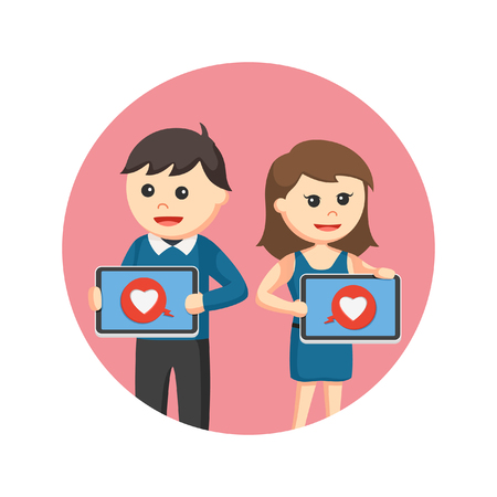 relationships human: Couple showing love icon from tablet in circle background Illustration