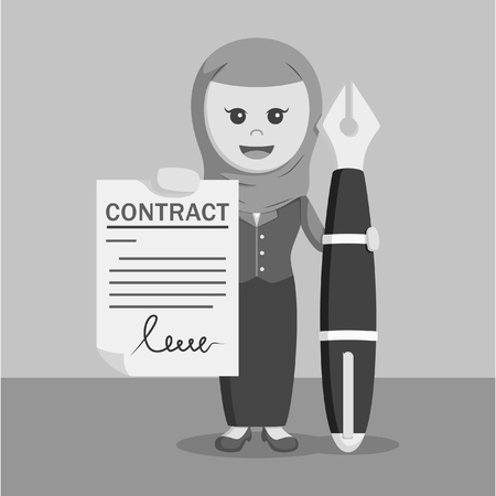 hand holding paper: Arab businesswoman with big pen and contract paper black and white style
