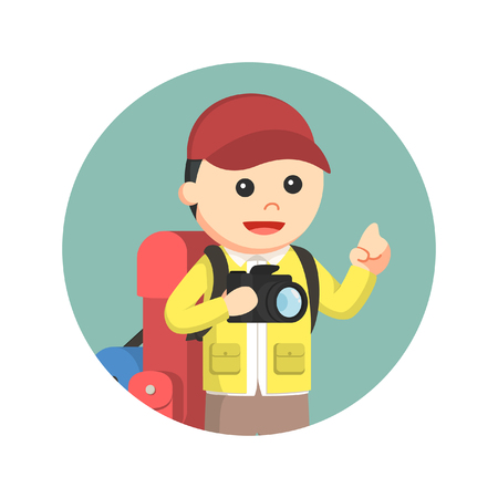 hiking trail: male hiker holding camera in circle background Illustration