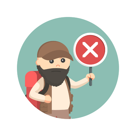 fat hiker with crosswise sign in circle background Illustration