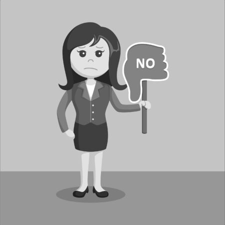 black and white businesswoman with thumb down black and white color style Ilustrace