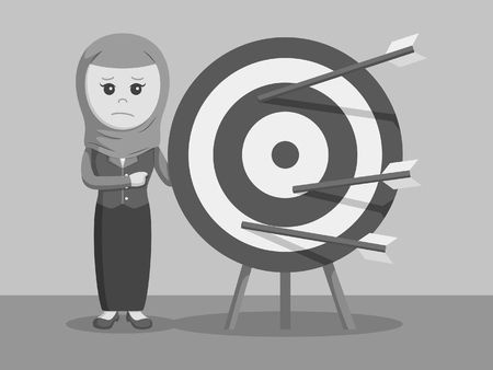 unsuccess: Creative Isolated arab businesswoman with missing target arrow black and white color style Illustration