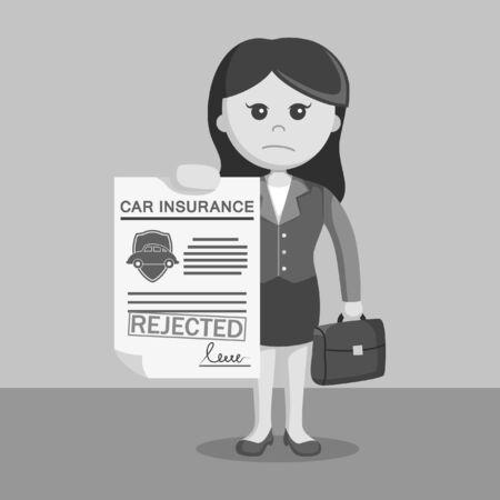 Blanco y negro de negocios con el seguro de automóvil rechazado en blanco y negro de estilo