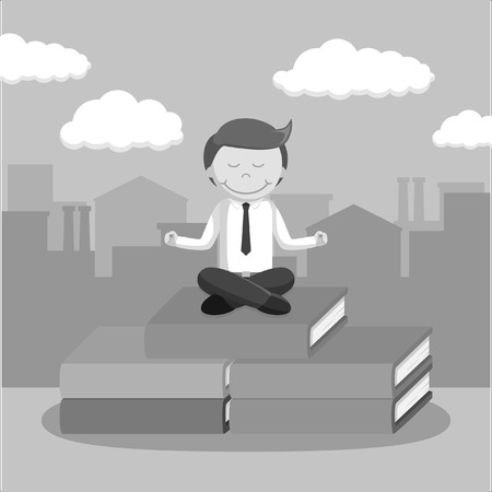 illustratio: black and white businessman meditate on the top of book black and white style