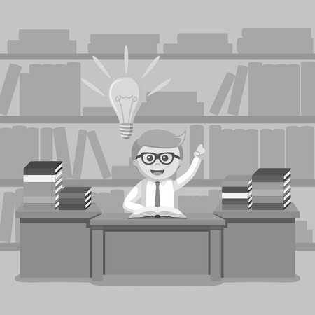 person reading: Black and white businessman idea on library black and white style