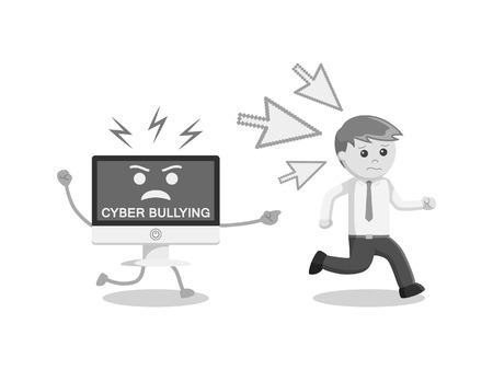 Man run away from cyber bullying black and white color style