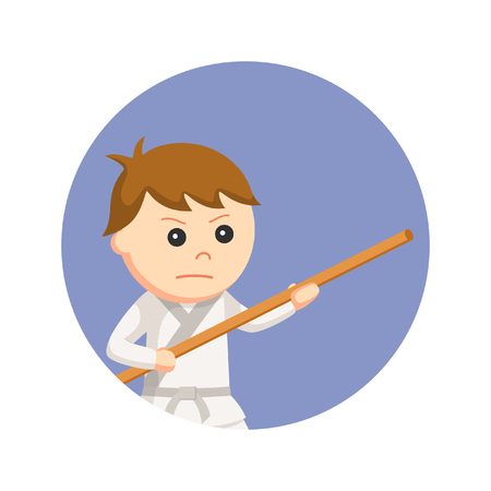 karate kid holding bo staff in circle background Illustration