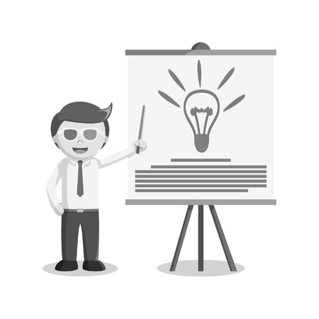 happy business team: Businessman giving 3d presentation black and white style.
