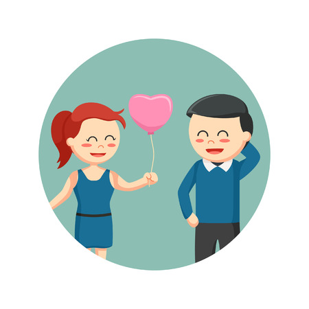 girl giving heart shape balloon to man in circle background