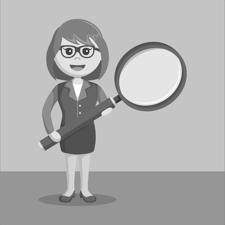 woman business suit: Businesswoman holding big magnifying glass black and white color style Illustration