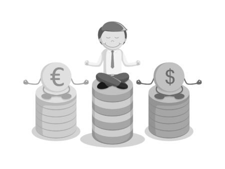 serene people: Businessman meditating with coins black and white style