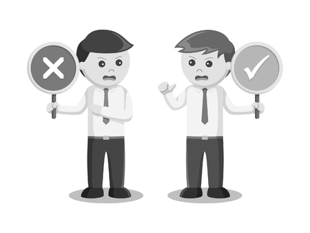businessman arguing with right wrong sign black and white style Stock Illustratie