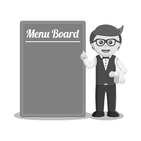 waiter standing beside big menu board black and white style Illustration