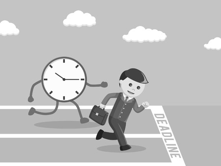 Businessman race against to the deadline black and white style