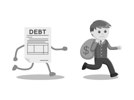 Businessman running away with money from debt black and white style