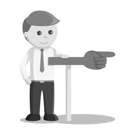 Businessman showing direction sign black and white style  イラスト・ベクター素材
