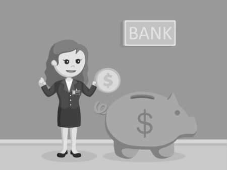 female bank teller holding coins beside of giant piggy bank black and white style