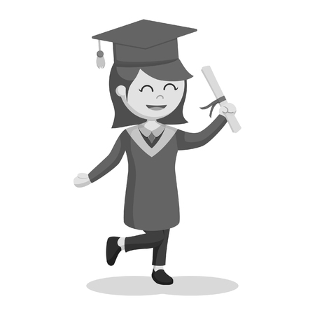 black and white graduate female student feel excited black and white style