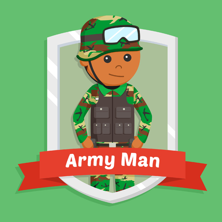 african army man in emblem Stock Photo