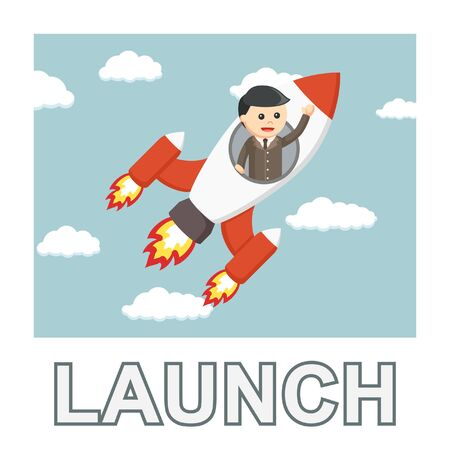 Businessman launch photo text style