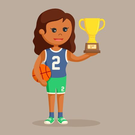 African basket ball player girl with trophy