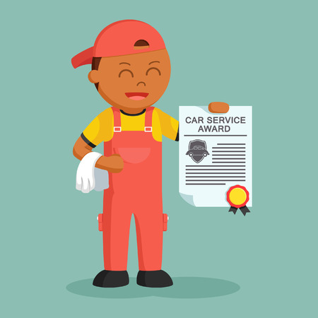 African mechanic with award certificate Stock Photo