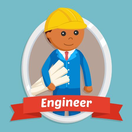 African engineer in emblem Stock Photo