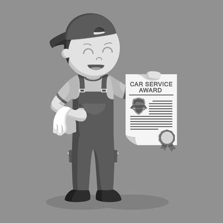 black and white mechanic with award certificate black and white style Stock Photo