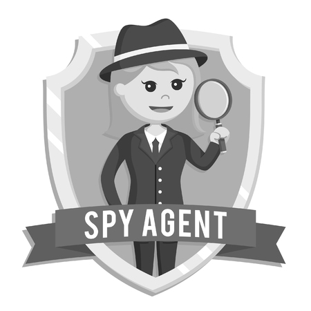black and white woman spy agent in emblem black and white style Foto de archivo