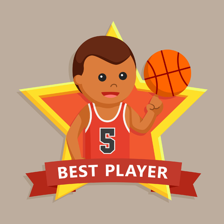 African basket ball player in star emblem Stock Photo