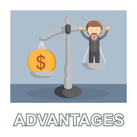 Businessman advantages photo text style