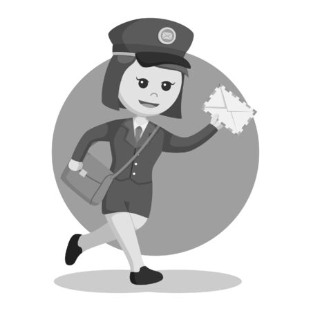 black and white postwoman running delivering letter black and white style