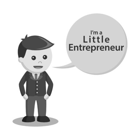 black and white little entrepreneur with callout black and white style