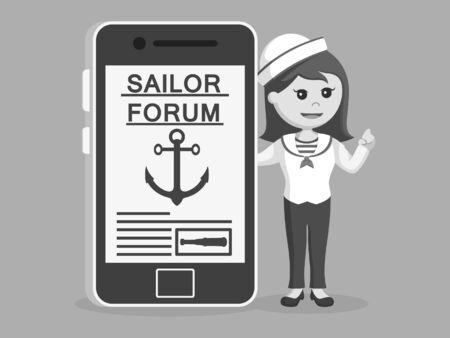 Femme marin debout à côté du smartphone noir et blanc style Banque d'images - 93694487