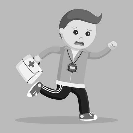 sport teacher running carrying first aid kit black and white style Stock Photo