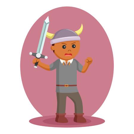 African viking soldier wield sword