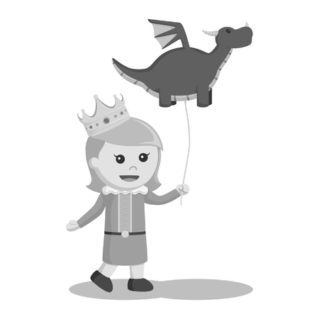 black and white little princess with dragon balloon black and white style Stock Photo