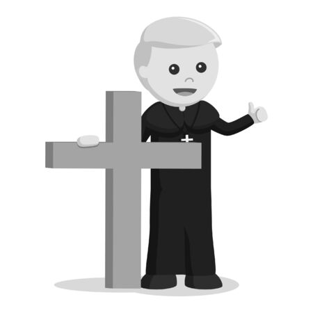 black and white priest holding big wooden cross black and white style